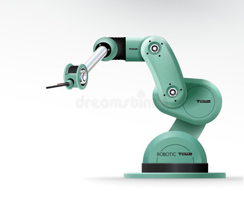 För handarm för industriell maskin robotic fabrik för maskineri stock illustrationer