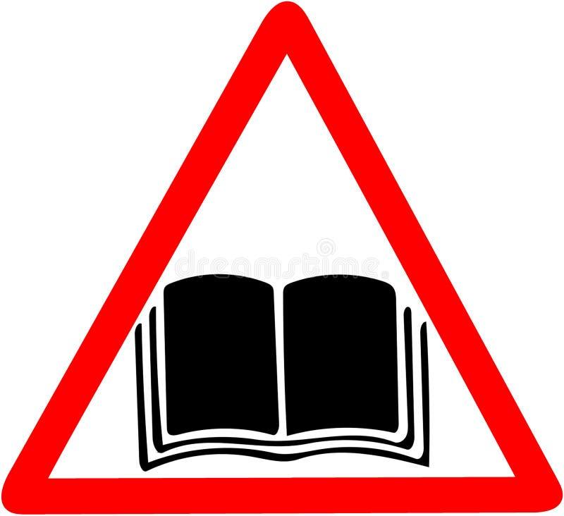För handbokshandbok för anvisning manuell symbol för varning Den öppna boken söker bildsymbol Rött tecken för förbudvarningssymbo stock illustrationer