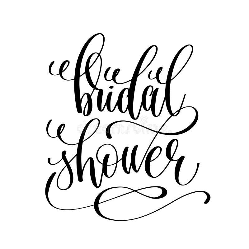 För handbokstäver för brud- dusch svartvit skrift stock illustrationer