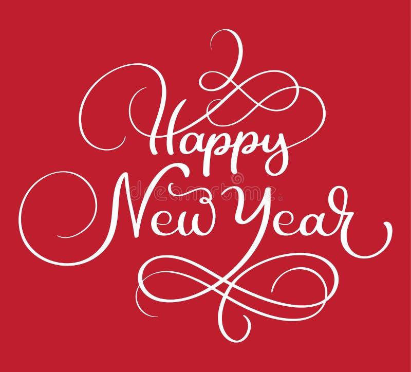 För handbokstäver för lyckligt nytt år som Calligraphic text isoleras på röd bakgrund Fyrkantig bakgrund med stället för ditt inn stock illustrationer