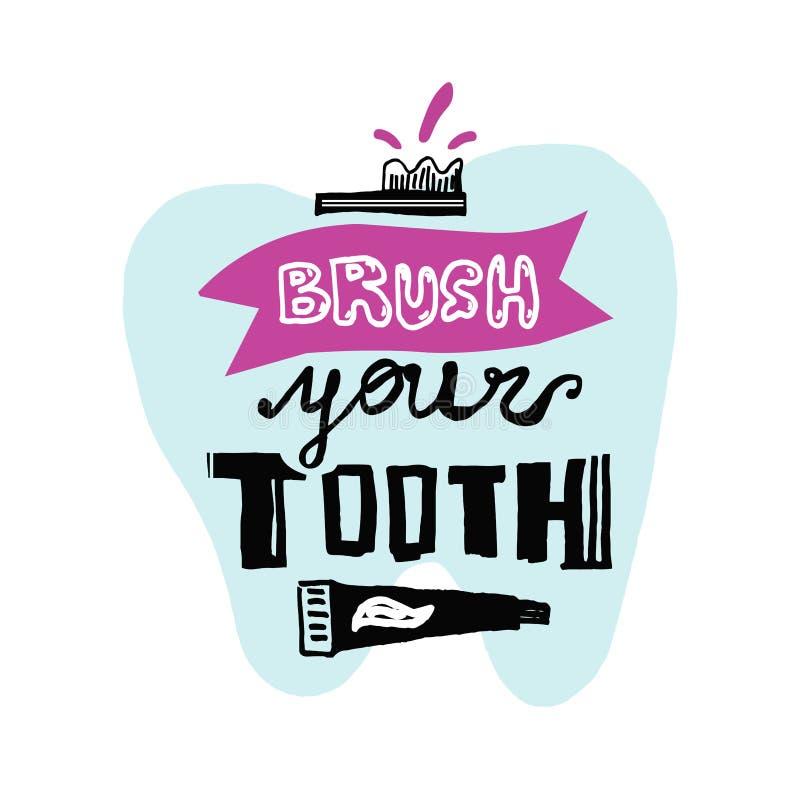 F?r handbokst?ver f?r vektorn den tand- affischen - borsta din tand stock illustrationer