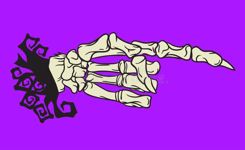 För handdesign för allhelgonaafton skelett- beståndsdel vektor illustrationer