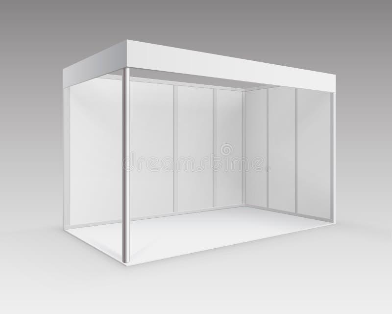 För handelutställning för vit standard ställning för tomt inomhus bås för presentationen i perspektiv på bakgrund royaltyfri illustrationer