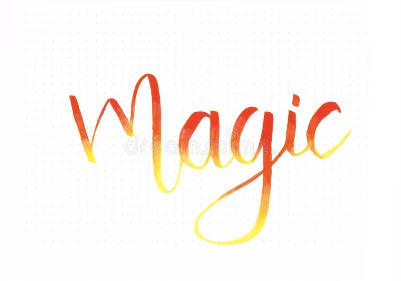 För `-handen för ` färgar den magiska inskriften för bokstäver i ombre stock illustrationer