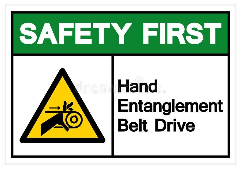 För handförveckling för säkerhet första - tecken för symbol för drev för bälte, vektorillustration, isolat på den vita bakgrundse stock illustrationer