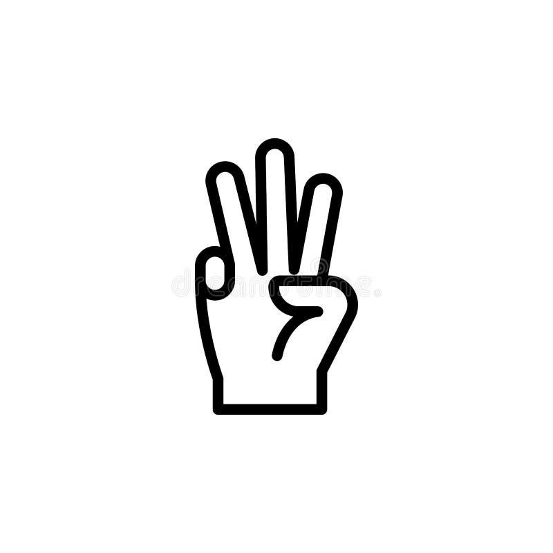 för handgest för 3 finger symbol för översikt Beståndsdel av symbolen för illustration för handgest tecknet symboler kan användas vektor illustrationer