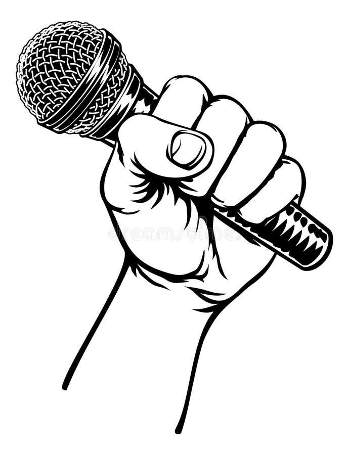 för handholding för bakgrund tät mikrofon upp white vektor illustrationer