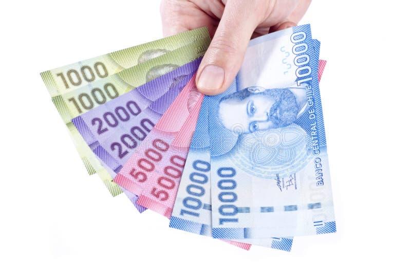 för handholding för chilensk closeup färgrika pesos arkivbild