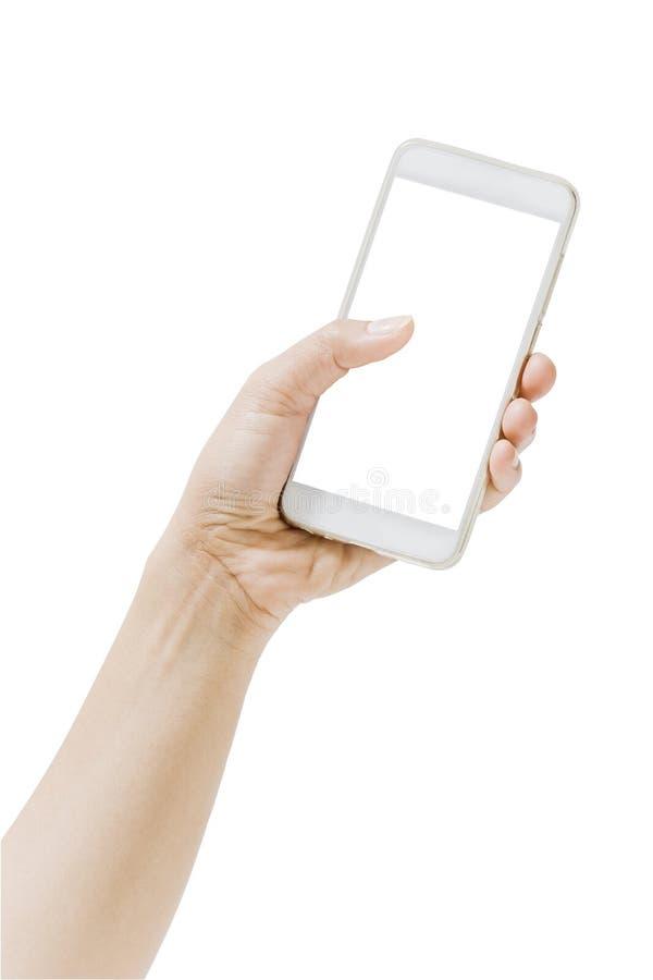 För handinnehav för slut som övre mobil för telefon isoleras på vit bakgrund royaltyfri bild