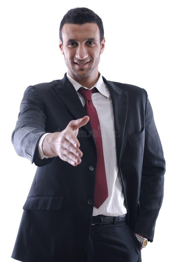 för handman för affär säker geende shake dig arkivfoton