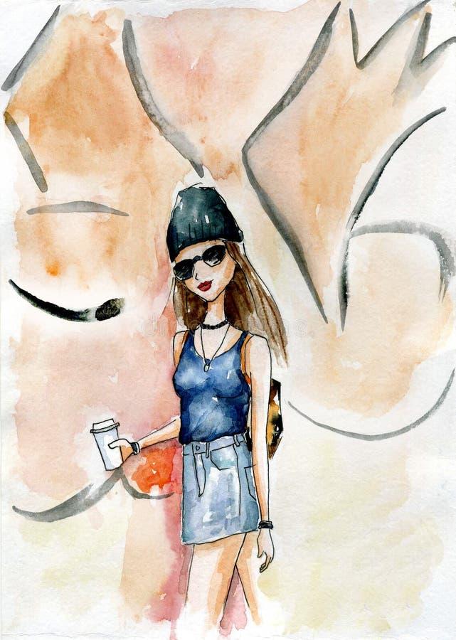 För handpainted tonårig flicka gatastil för vattenfärg på en väggbackgorund royaltyfri illustrationer