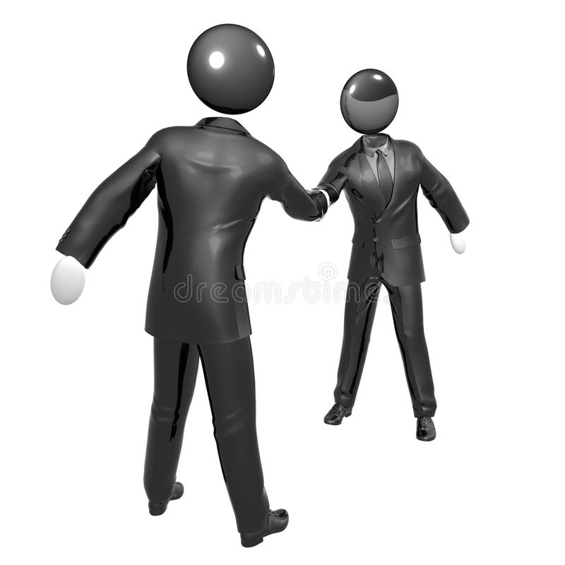 för handskakningsymbol för affärsman 3d smoking royaltyfri illustrationer