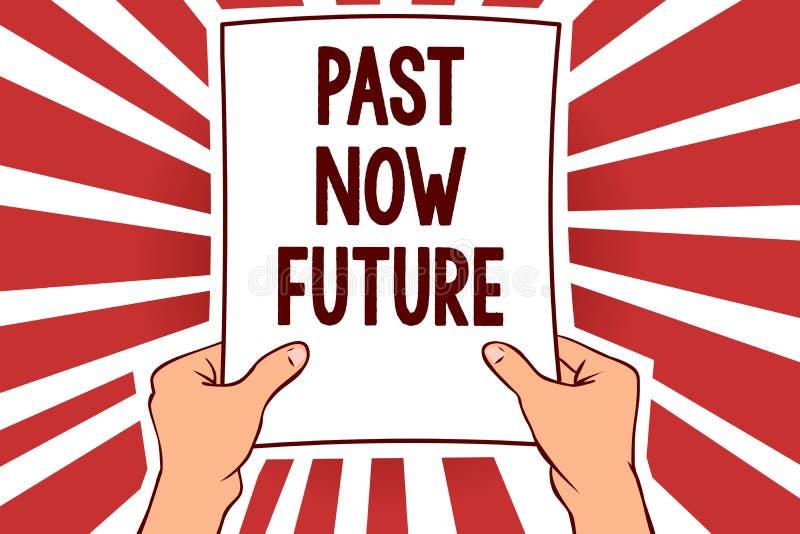 För handskrifttexthandstil för forntid framtid nu För Destiny Memories Man för handlingar för menande sista gången för begrepp nä vektor illustrationer