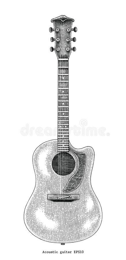 För handteckning för akustisk gitarr illustration för gravyr för tappning vektor illustrationer
