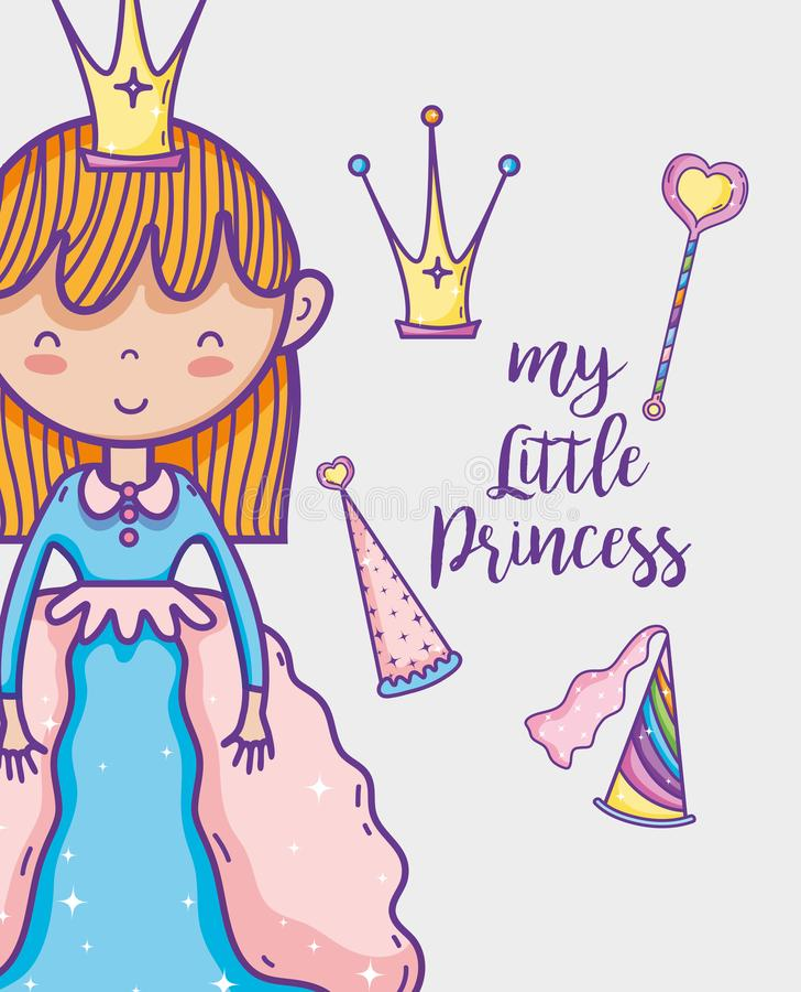 För handteckning för liten prinsessa gullig tecknad film royaltyfri illustrationer