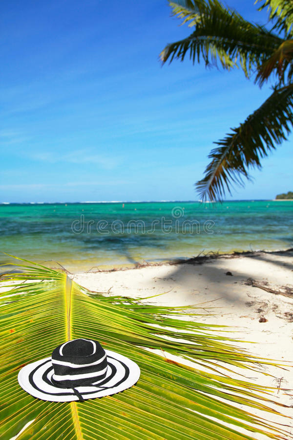 för hatthav för strand karibisk kvinna royaltyfri bild