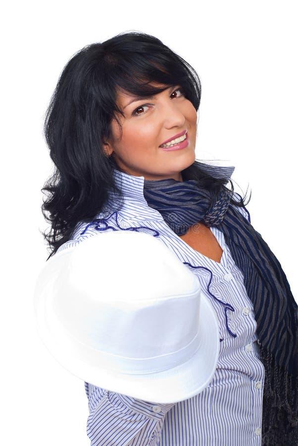 för hattholding för affärskvinna elegant white arkivfoto