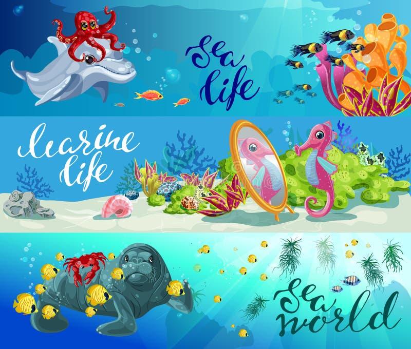 För havsdjur för tecknad film färgrika horisontalbaner royaltyfri illustrationer