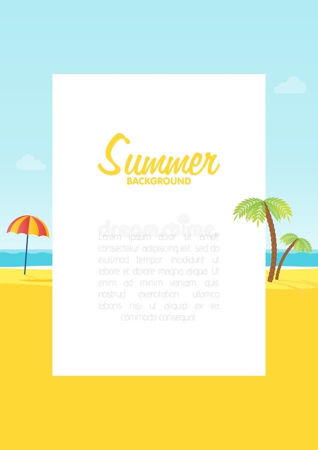 För havsstrand för sommar tropisk bakgrund med utrymme för textillustration stock illustrationer