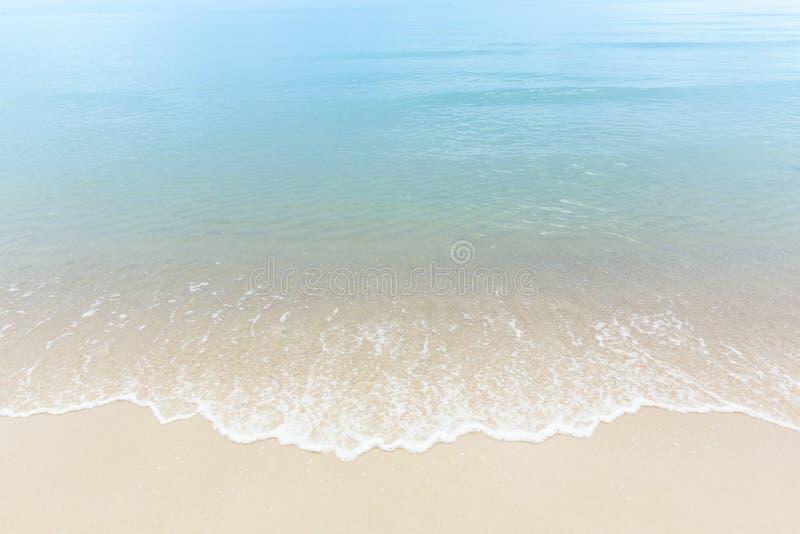 För havsvatten för slutet sätter på land övre blåa vågor på vit sand, härliga blått royaltyfria foton