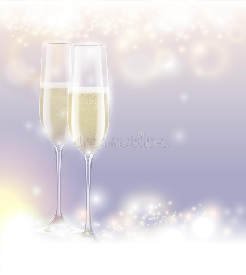 För helgdagsaftonberöm för nytt år bakgrund två exponeringsglas champagne Abstrakt mousserande ljus magi blänker Ljus festlig fer stock illustrationer