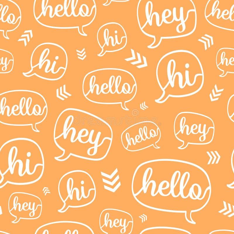 För Helloanförande för vektor sömlös modell för orange vit bubbla royaltyfri illustrationer