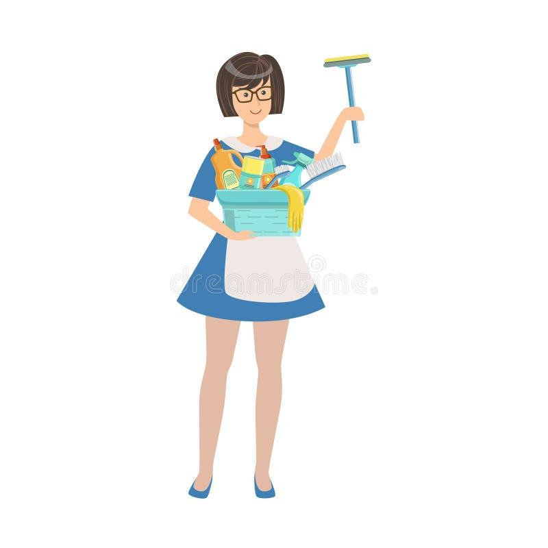 För hembiträdeWith Window Washing för hotell yrkesmässig illustration utrustning vektor illustrationer