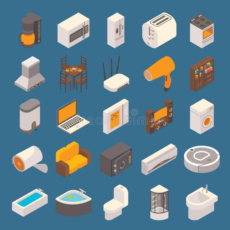 För hemlägenhet 3d för vektor smart uppsättning för symbol isometrisk vektor illustrationer