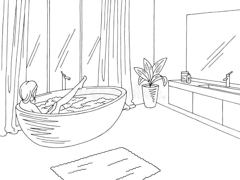 För hemmiljösvart för badrummet skissar grafisk vit illustrationvektorn Kvinnatvagning i badkaret vektor illustrationer
