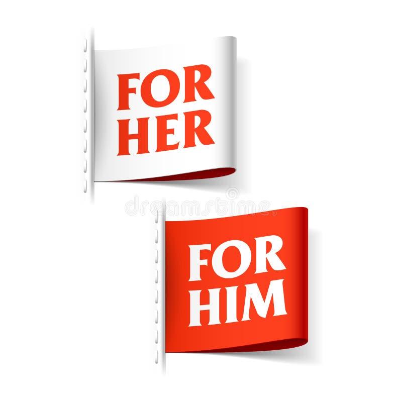 För henne och för honom etiketter stock illustrationer