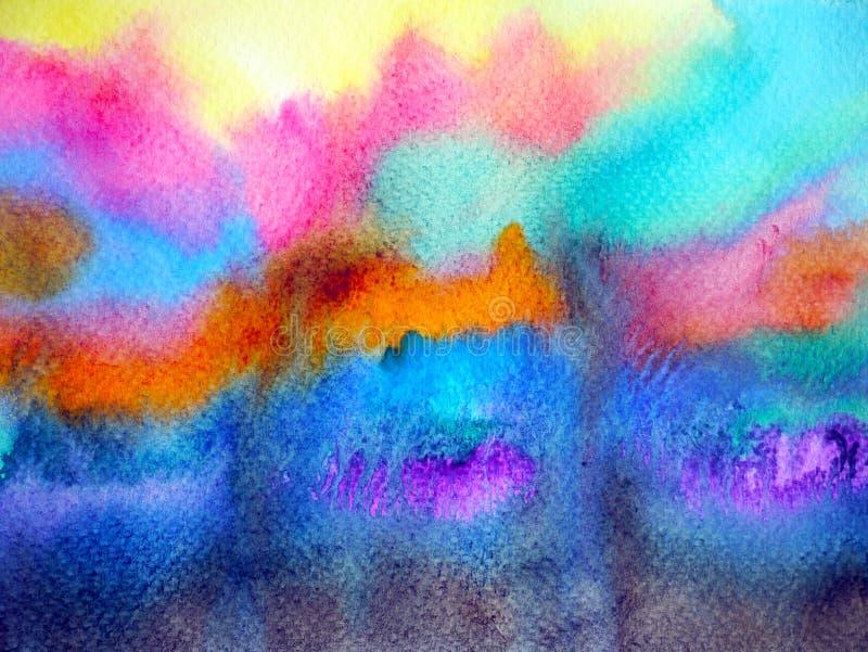 För himmelbakgrund för abstrakt färg färgrik konstnärlig målning för vattenfärg royaltyfri illustrationer