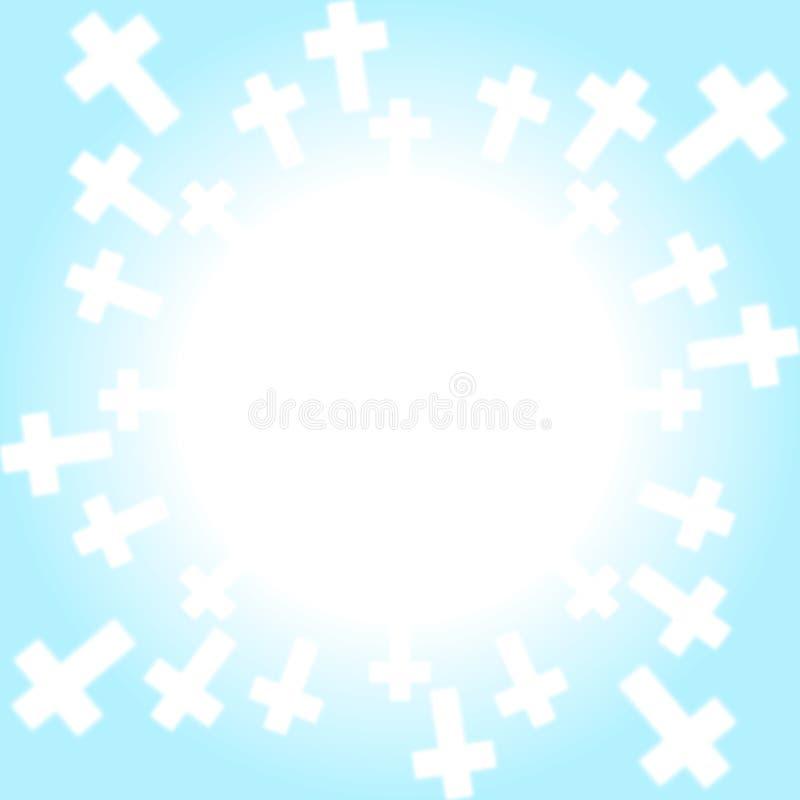För himmelgräns för kors ljus ram stock illustrationer