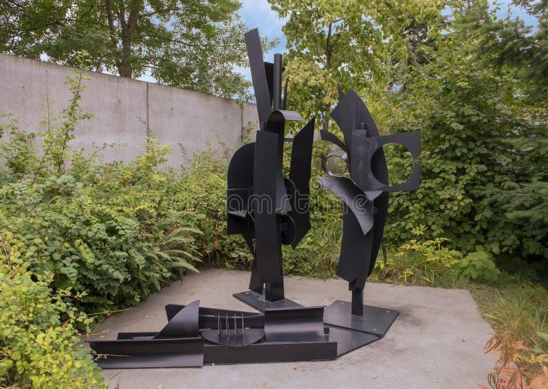 ` För `-himmellandskapet av Louis Nevelson, olympisk skulptur parkerar, Seattle, Washington, Förenta staterna arkivbilder