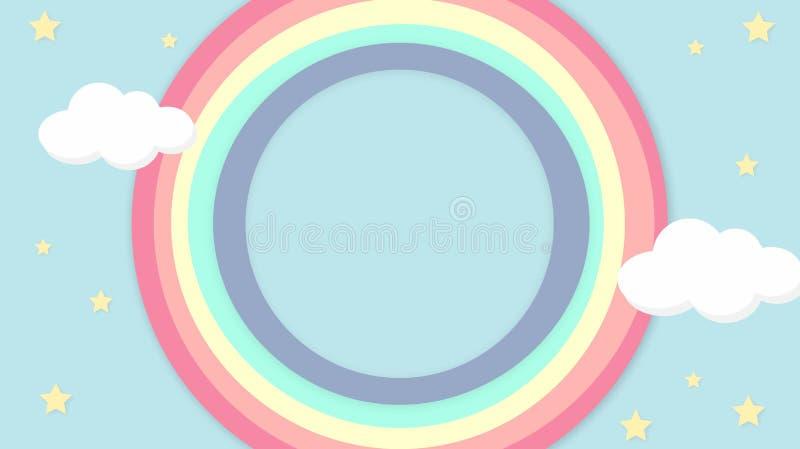 För himmelregnbåge för abstrakt kawaii färgrik bakgrund Pastellfärgat komiskt diagram för mjuk lutning Begrepp för bröllopkortdes arkivbilder