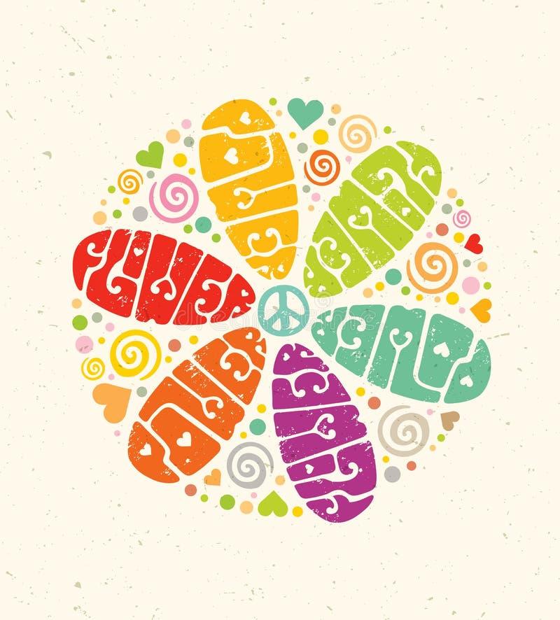 För hippievektor för flower power idérik illustration Ljust sommarbokstäverbegrepp på pappers- bakgrund stock illustrationer