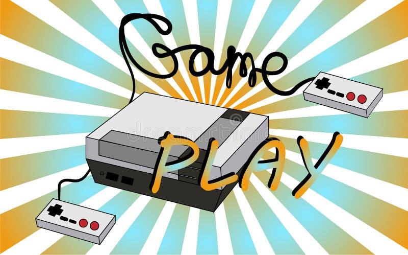 För hipsterantikvitet för gammal tappning retro konsol för lek för videospel med styrspakar och gameplay på bakgrunden av 70 `en  royaltyfri illustrationer