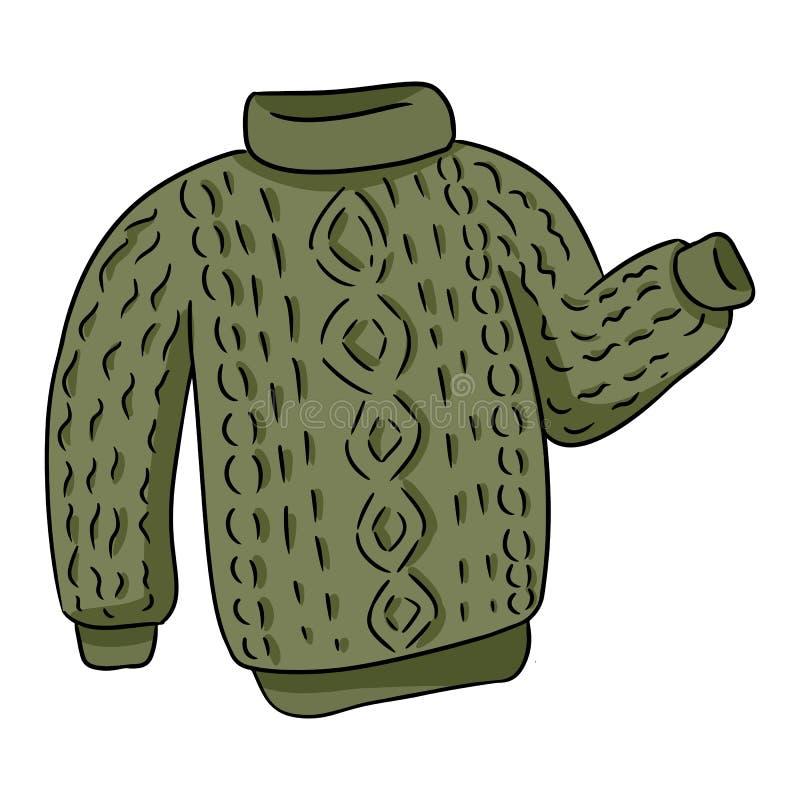 För hipstertröja för grön hygge hemtrevligt stuckit färgrikt klotter stock illustrationer