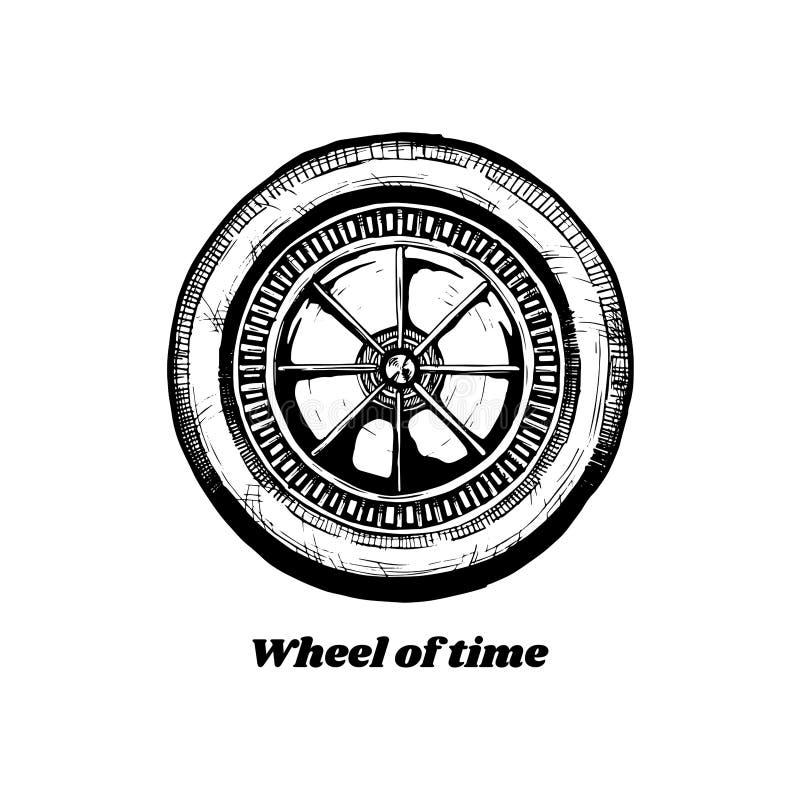 för historieillustrationen för begreppet kriger den konstant vektorn för folk hjulet stock illustrationer