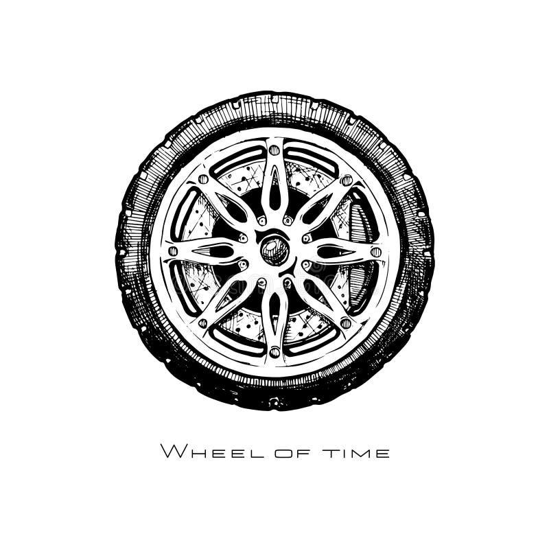för historieillustrationen för begreppet kriger den konstant vektorn för folk hjulet vektor illustrationer