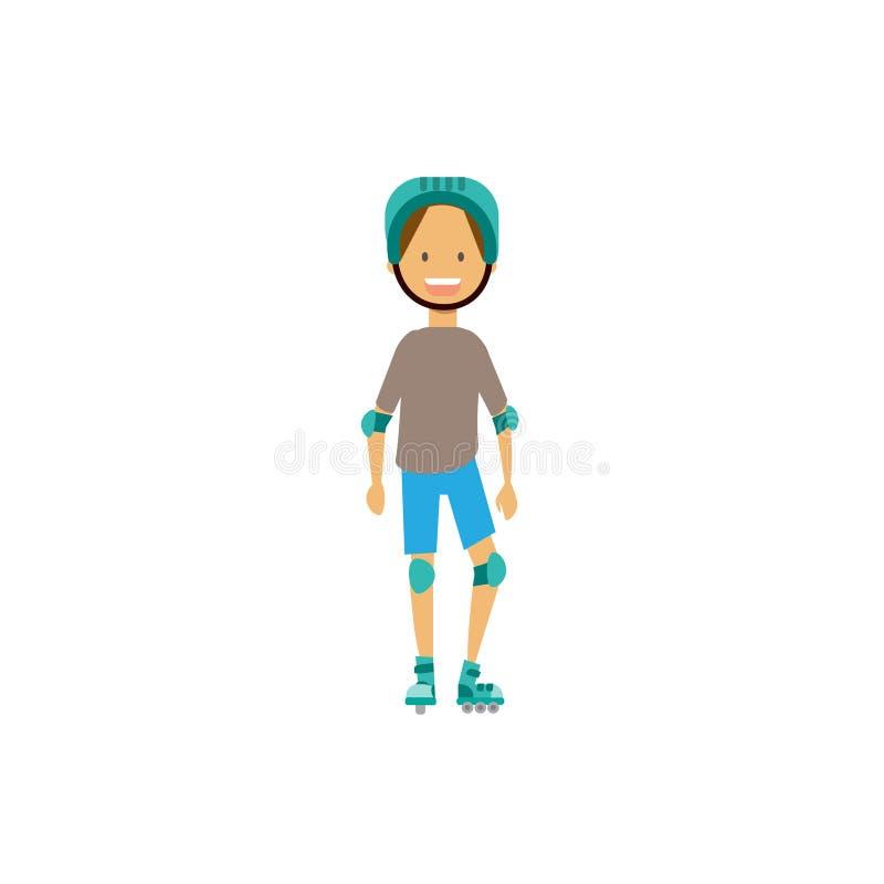 För hjälmarmbåge för ung pojke rullande block för knä på vit bakgrund fullt längdtecknad filmtecken Plan stil royaltyfri illustrationer