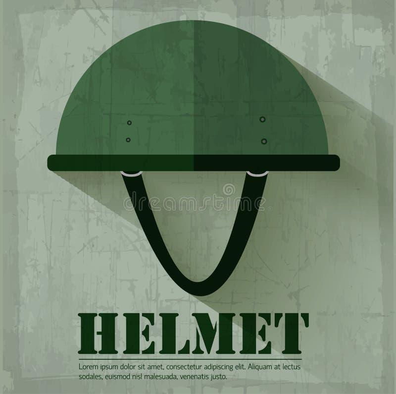 För hjälmsymbol för Grunge militärt begrepp för bakgrund stock illustrationer