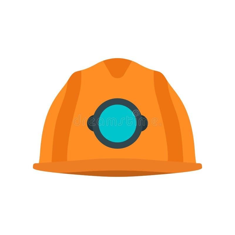 För hjälmvektor för gruvarbetare gult hjälpmedel för skydd för symbol Bransch för enhetlig arbetare för huvud underjordisk Hardha royaltyfri illustrationer
