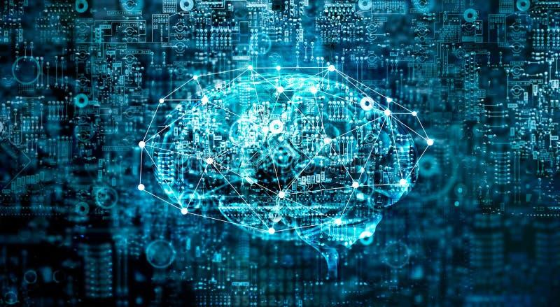 För hjärnframtid för konstgjord intelligens digital teknologi stock illustrationer