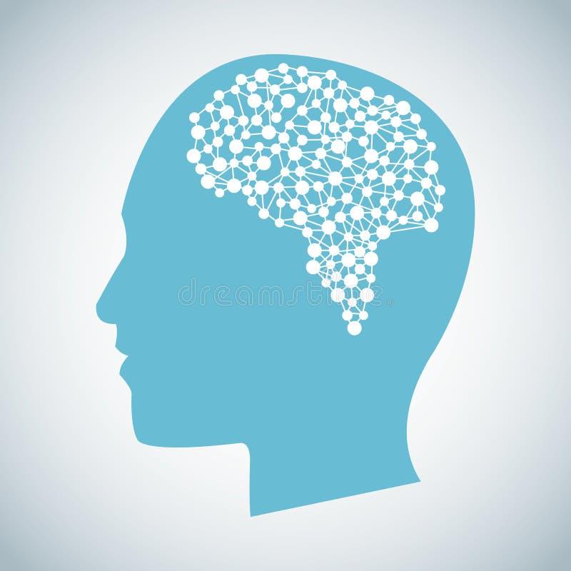 För hjärnfunderare för mänskligt huvud funktion stock illustrationer