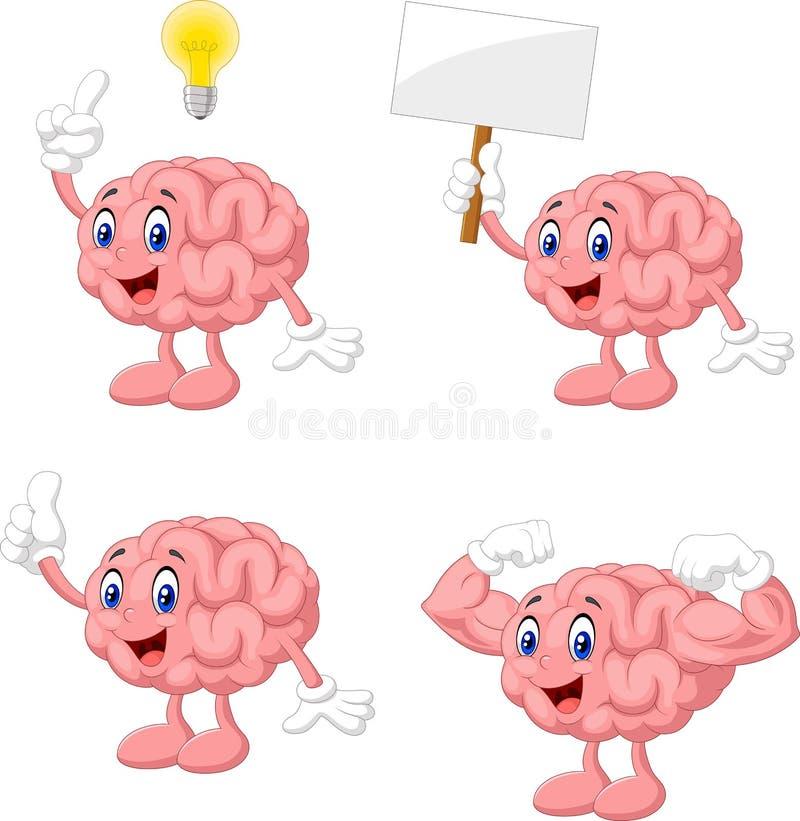 För hjärnsamling för tecknad film rolig uppsättning vektor illustrationer
