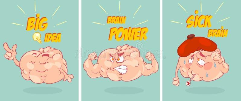 För hjärnsamling för tecknad film rolig uppsättning stock illustrationer