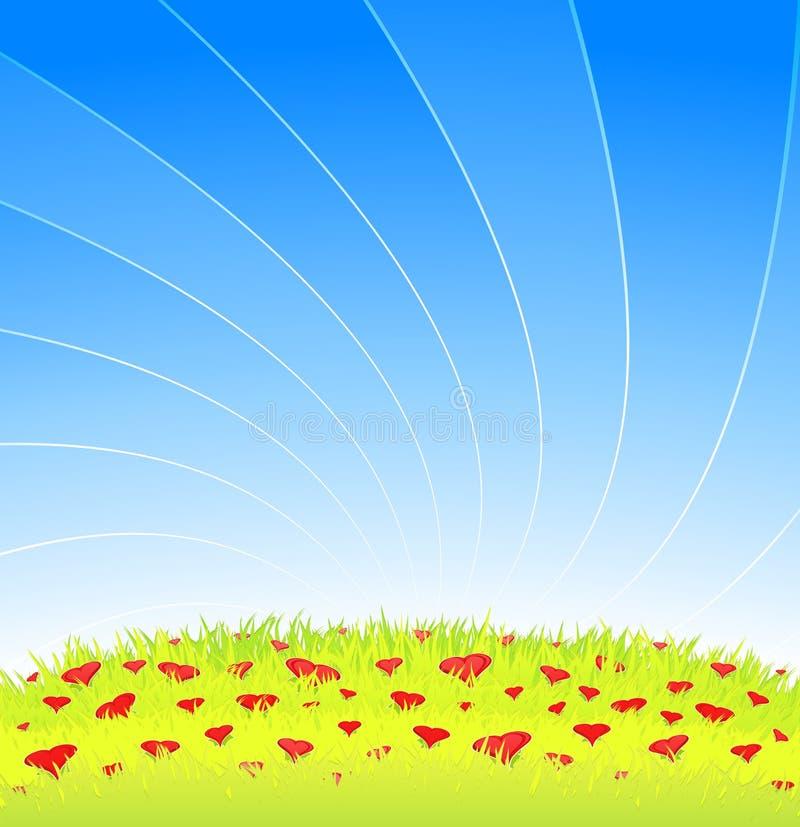 för hjärtaäng för blommor full romantiker vektor illustrationer