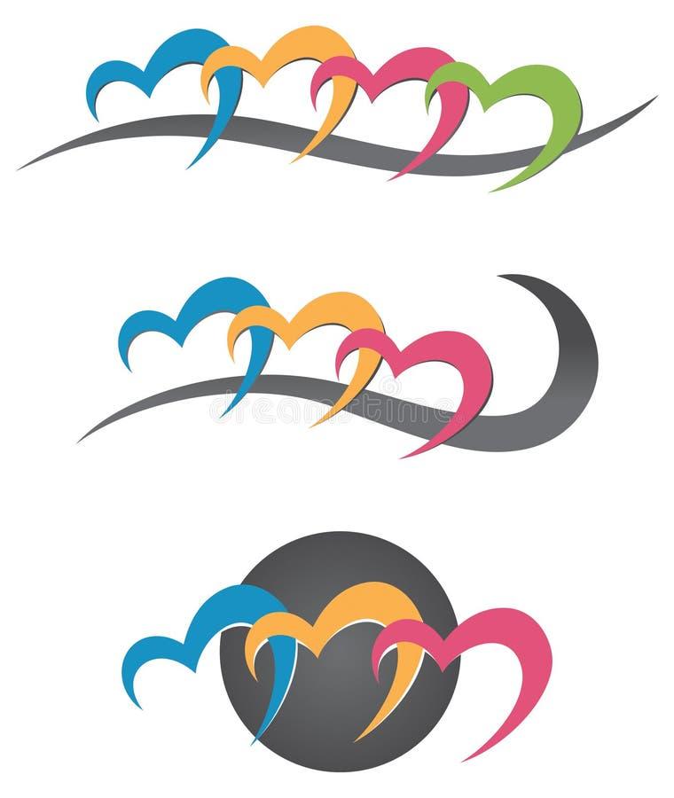 För hjärta logo tillsammans royaltyfri illustrationer