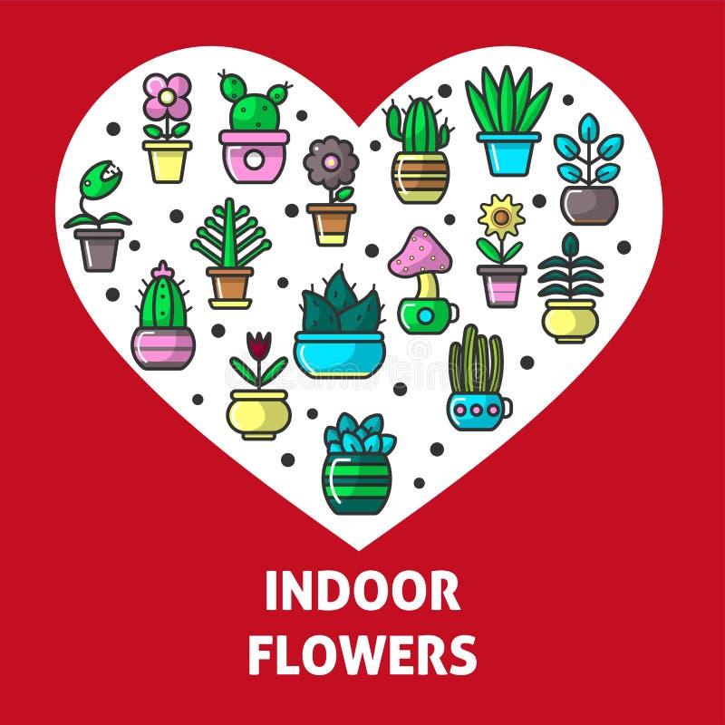 För hjärtaaffisch för inomhus blommor och för trädgårds- växter för hus vektor royaltyfri illustrationer