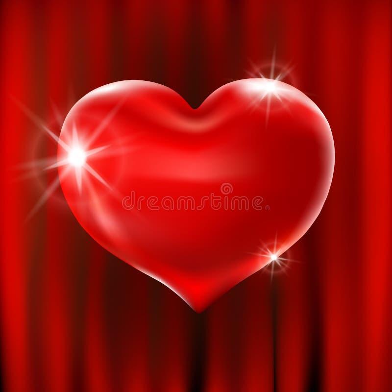 För hjärtaberöm för vektor blänker röda ballonger designen för illustrationen 3d för ditt hälsningkort, inbjudan och partiet älsk royaltyfri illustrationer